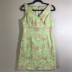 Lily Pulitzer green/pink tropical theme dress 6